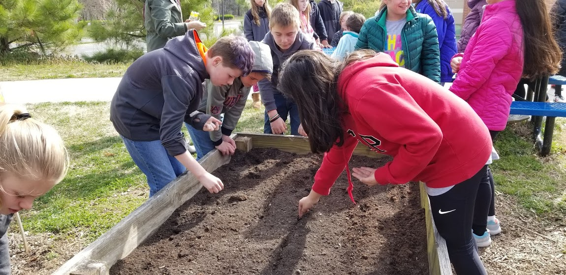 picture of students working in the garden