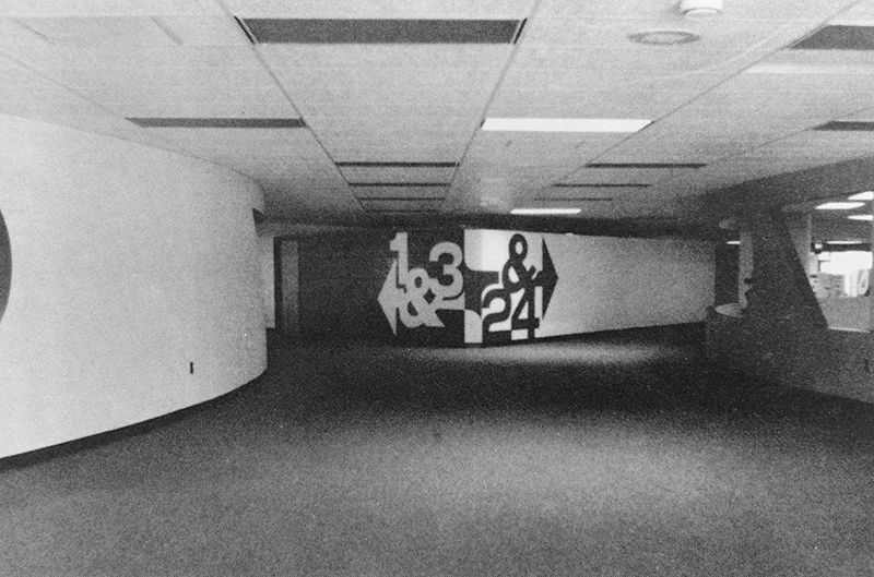 Black and white photograph of an interior hallway at Terra Centre Elementary School from the 1980-81 yearbook.