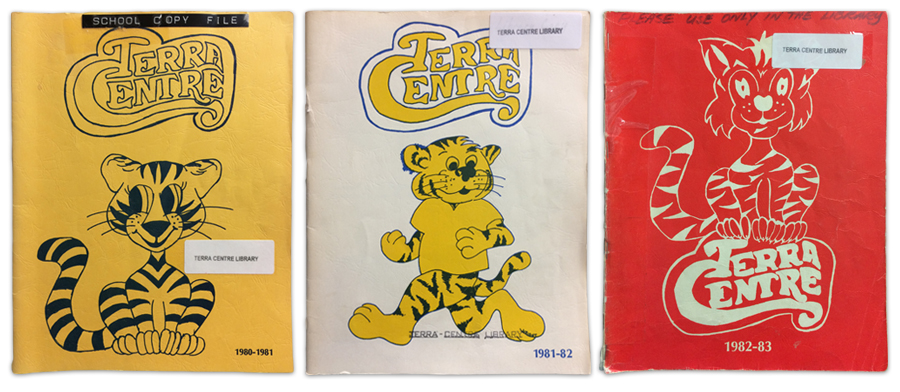 Terra Centre Elementary yearbook covers from 1980-81, 1981-82, and 1982-83. Each cover features a drawing of our school mascot.