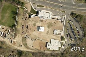Aerial image of Terra Centre Elementary School taken in 2015 during renovation.
