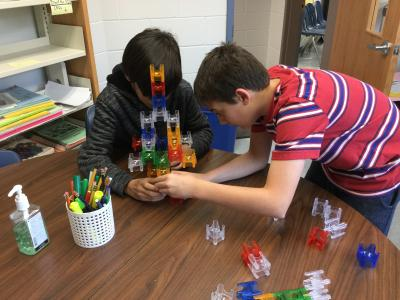 students building structures