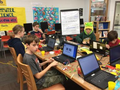 photo of students using Makey Makeys